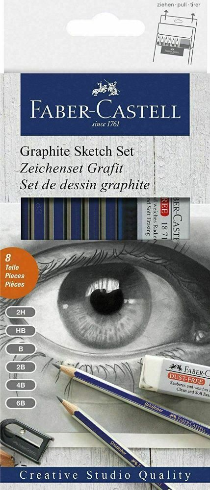 FABER CASTELL GRAPHITE SKETCH SET DRAWING SET OF ART PENCILS